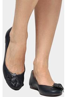 Sapatilha Couro Shoestock Flor Feminina - Feminino-Marinho