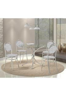 Mesa 375 Vidro Incolor Cromada Com 4 Cadeiras 190 Fantasia Branco Carraro