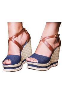 Sandália Sb Shoes Anabela Ref.3205 Marinho/Caramelo