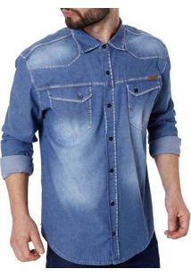 Camisa Jeans Manga Longa Masculina Bivik Azul