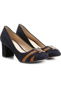 Scarpin Couro Shoestock Salto Médio Gorgurão - Feminino-Marinho+Caramelo