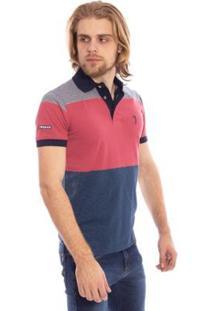 Camisa Polo Aleatory Listrada Curve Masculina - Masculino-Coral