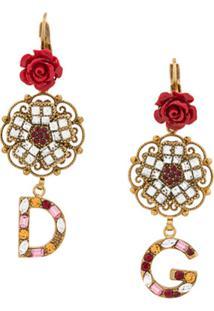 Dolce & Gabbana Par De Brincos Com Logo - Dourado