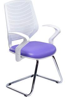 Cadeira Executiva Delli Branca Ski Cromada Roxo - Designchair