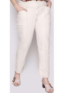 Calça Almaria Plus Size Izzat Liso Branco