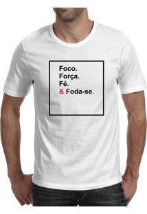 Camiseta Hunter Foco Força Fé Branca