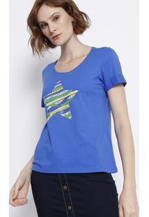Blusa Com Decote Arredondado - Azul Escuro & Amarelamalwee