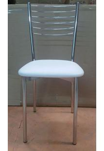 Cadeira Promocional Cromada Em Courino Branco - 4735 Sun House