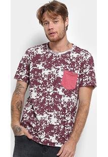 Camiseta Long Island Estampada Bolso Masculina - Masculino-Bordô