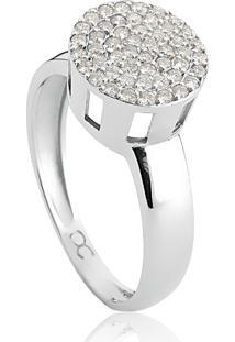 Anel De Ouro Branco 18K Pavê Redondo De Diamantes-Coleção Engaged