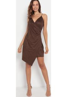 Vestido Em Camurça Com Franzidos- Marrom Escuro- Lanlança Perfume