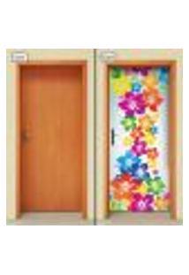 Adesivo Decorativo De Porta - Flores - 1450Cnpt