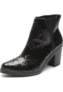 Bota Chelsea Dafiti Shoes Glitter Preto