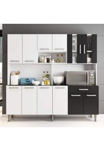 Armário De Cozinha 12 Portas 1 Gaveta Clara Poliman Móveis Branco/Preto
