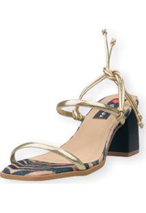 Sandália Salto Bloco Love Shoes Tiras Amarração Onça Dourado