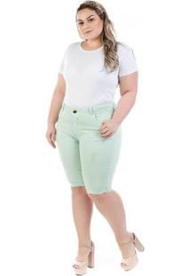 Bermuda Plus Size Jeans Munich Com Elastano Feminina - Feminino-Verde