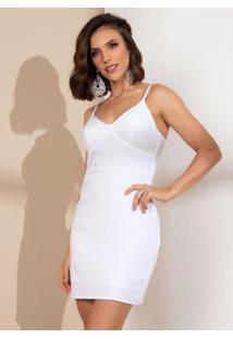 Vestido Tubinho Branco Com Alças Finas