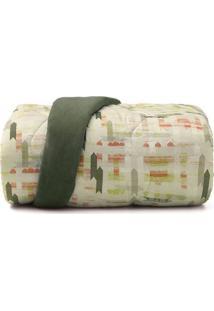 Edredom New Confort Solteiro- Verde Claro & Laranja-Altenburg