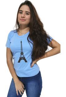 Camiseta Feminina Cellos Eifel Tower Premium Azul Claro