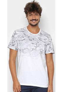 Camiseta Kohmar Camuflada Manga Curta Masculina - Masculino-Off White