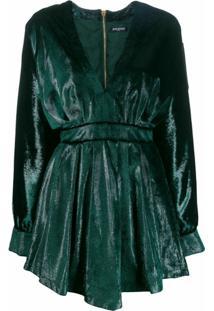 Balmain Vestido Evasê Metálico - Verde