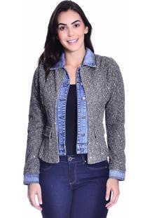 Jaqueta Jeans Loony Com Sobreposição Blazer Tweed Jeans Azul