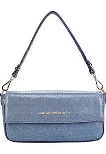 Bolsa Couro Jorge Bischoff Estruturada Jeans Feminina - Feminino-Azul
