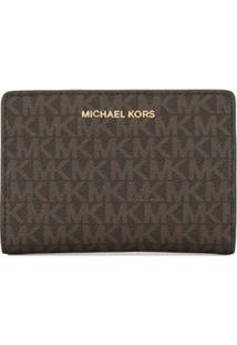 Michael Michael Kors Carteira Grande Com Estampa De Logo - Marrom