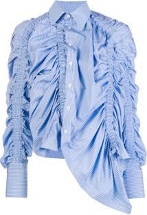 Rokh Blusa Assimétrica Com Babado - Azul