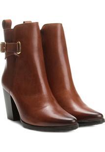 Bota Couro Cano Curto Shoestock Salto Alto Feminina - Feminino-Marrom