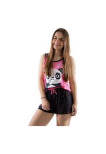 Baby Doll 4 Estações Pijama Verão Feminino Panda Curto Regata Rosa