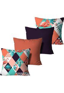 Kit 4 Capas Para Almofadas Decorativas Love Decor Flamingos Multicolorido Laranja - Kanui