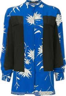 Haider Ackermann Blusa Oversized De Seda Color Block - Azul