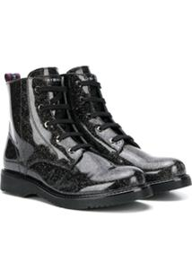 Tommy Hilfiger Junior Ankle Boot Com Brilho - Preto