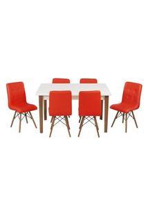 Conjunto Mesa De Jantar Luiza 135Cm Branca Com 6 Cadeiras Gomos - Vermelho