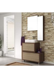 Gabinete Para Banheiro Com 2 Espelheiras E Cuba Vegas Móveis Bosi