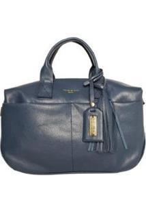 Bolsa Handbag Couro House Of Caju Pingente Feminina - Feminino-Azul Escuro
