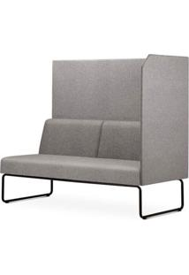 Sofa Privativo Pix Com Lateral Esquerda Aberta Assento Mescla Cinza Claro Base Aco Preto - 54987 - Sun House