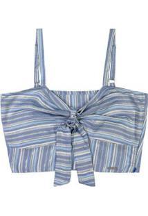 Blusa Azul Cropped Com Amarração