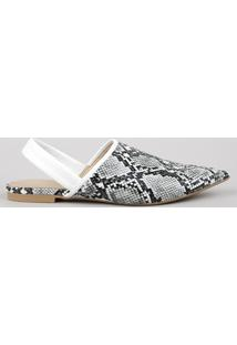 Sapatilha Feminina Oneself Bico Fino Estampada Animal Print Cobra Off White