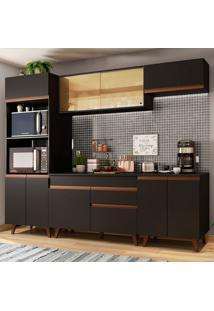 Cozinha Completa Madesa Reims 260002 Com Armário E Balcão - Preto Preto