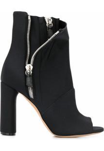 Casadei Ankle Boot Elastic Girl Chiodo De Couro - Preto