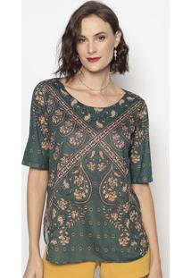 Blusa Com Recortes- Verde & Bege- Cotton Colors Extrcotton Colors Extra