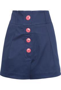 Shorts Feminino Botões - Azul