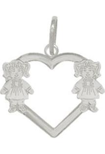Pingente Prata Mil Coração Vazado 2 Meninas