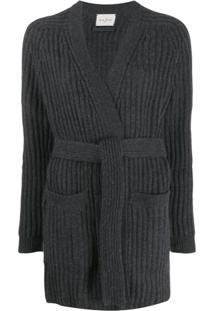 Le Kasha Cardigan Com Cinto - Cinza