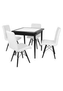 Conjunto Mesa De Jantar Em Madeira Preto Prime Com Azulejo + 4 Cadeiras Gomos - Branco