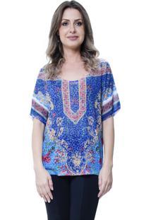 Blusa Estampada 101 Resort Wear Basica Étnico Azul