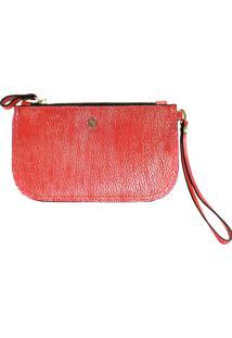 Clutch Balaia Pocket Em Couro Vermelho Com Brilho