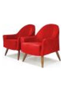 Kit 02 Poltronas Decorativas Para Sala De Estar E Recepção Martina D02 Tressê Suede Vermelho B-173 - Lyam Decor